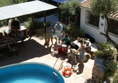 Drumming Workshop by the pool