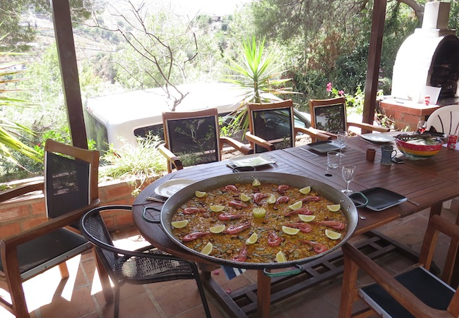 Paella on covered eating area